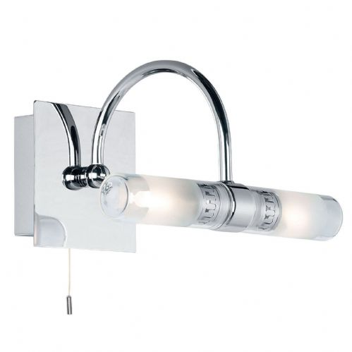 Chrome effect plate + clear & frosted glass IP44 Bathroom Wall Light BX447-17  (Double Insulated)